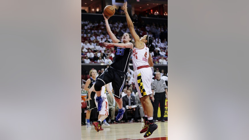 Duke forward Haley Peters (33) shoots past Maryland center Malina Howard in the first half of an NCAA college basketball game in College Park, Md., Sunday, Feb. 24, 2013. (AP Photo/Patrick Semansky)