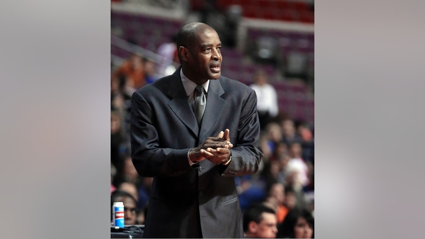 Atlanta Hawks head coach Larry Drew watches from the sidelines during the first quarter of an NBA basketball game against the Detroit Pistons at the Palace in Auburn Hills, Mich., Monday, Feb. 25, 2013. (AP Photo/Carlos Osorio)