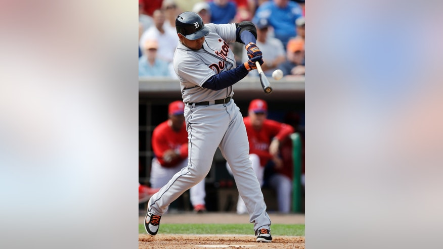Detroit Tigers' Miguel Cabrera hits a three-run home run off Philadelphia Phillies' Jonathan Papelbon during the fifth inning of a spring training exhibition baseball game, Monday, Feb. 25, 2013, in Clearwater, Fla.  (AP Photo/Matt Slocum)