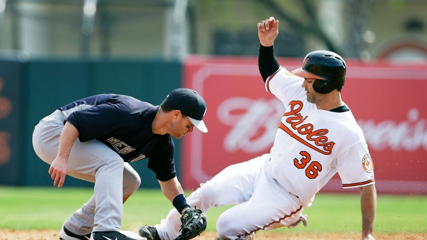 Baltimore Orioles' Conor Jackson (36) steals second base ahead of the tag by New York Yankees second baseman Jayson Nix during the fourth inning of a baseball spring training exhibition game, Monday, Feb. 25, 2013, in Sarasota, Fla. (AP Photo/Charlie Neibergall)