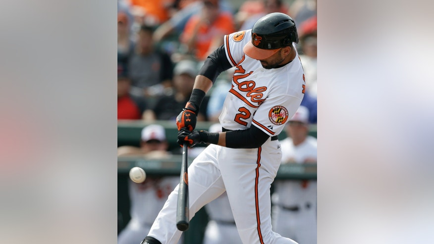 Baltimore Orioles' Nick Markakis hits an RBI single during the third inning of a baseball spring training exhibition game against the New York Yankees, Monday, Feb. 25, 2013, in Sarasota, Fla. (AP Photo/Charlie Neibergall)