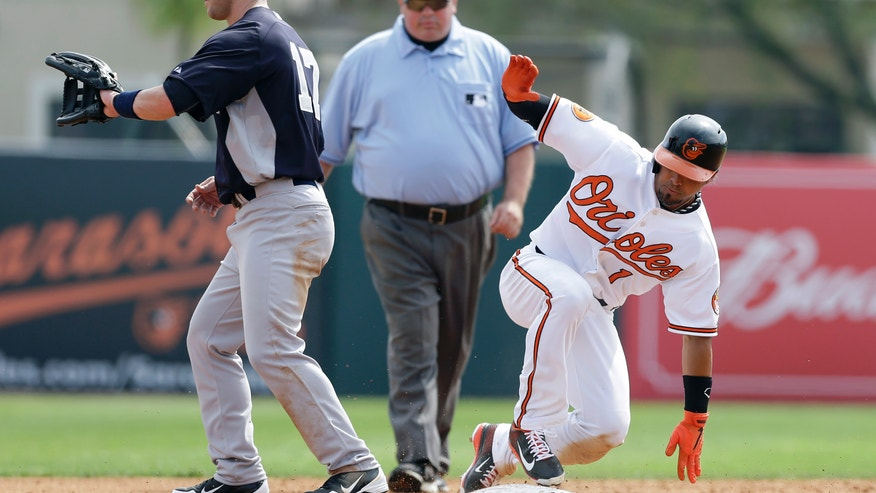 Baltimore Orioles' Brian Roberts, right, slides safely into second base in front of New York Yankees second baseman Jayson Nix, left, on a double during the third inning of a baseball spring training exhibition game, Monday, Feb. 25, 2013, in Sarasota, Fla. (AP Photo/Charlie Neibergall)