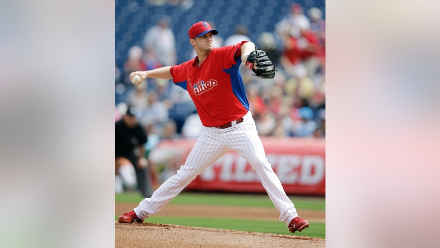 Philadelphia Phillies' Kyle Kendrick pitches during the first inning of an exhibition spring training baseball game against the New York Yankees, Tuesday, Feb. 26, 2013, in Clearwater, Fla. (AP Photo/Matt Slocum)