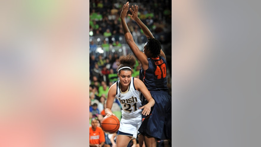 Notre Dame guard Kayla McBride, left, works against Syracuse center Kayla Alexander during the first half of an NCAA college basketball game Tuesday, Feb. 26, 2013, in South Bend, Ind. (AP Photo/Joe Raymond)