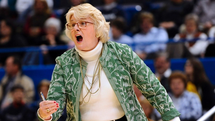 Pittsburgh head coach Agnus Berenato reacts during the first half of an NCAA college basketball game against Connecticut in Hartford, Conn., Tuesday, Feb. 26, 2013. (AP Photo/Jessica Hill)
