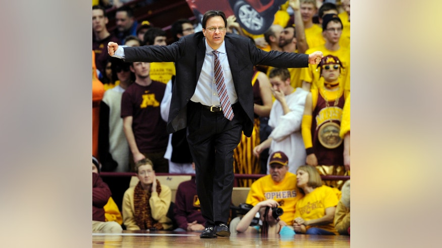 Indiana head coach Tom Crean reacts during the second half of an NCAA college basketball game against Minnesota, Tuesday, Feb. 26, 2013, in Minneapolis. Minnesota won 77-73. (AP Photo/Tom Olmscheid)
