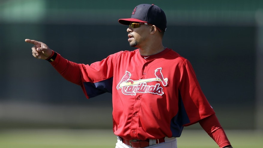 St. Louis Cardinals shortstop Rafael Furcal gestures during spring training baseball, Tuesday, Feb. 19, 2013, in Jupiter, Fla. (AP Photo/Julio Cortez)