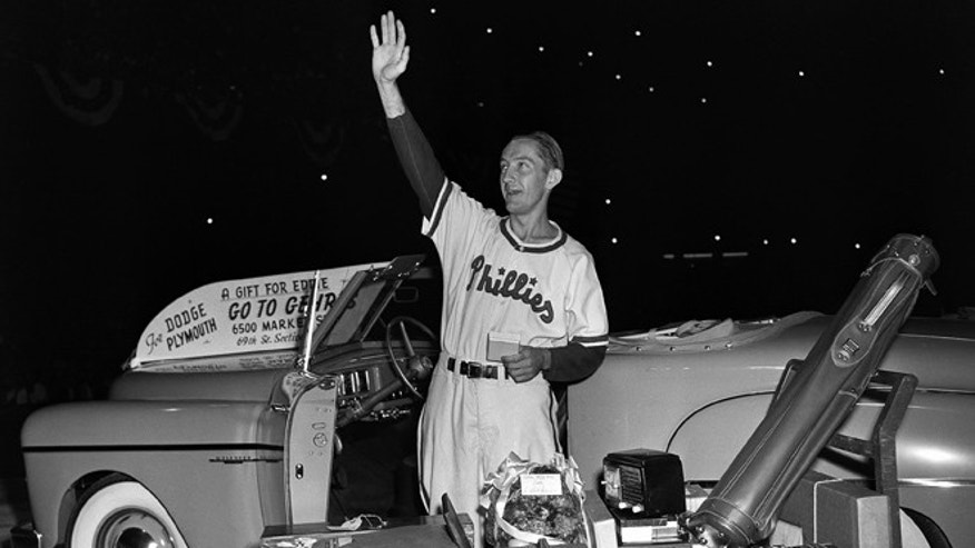 Aug. 19, 1949: Philadelphia Phillies first baseman Eddie Waitkus acknowledges the applause of fans at Shibe Park as he stands by gifts showered on him on 'Eddie Waitkus Night' in Philadelphia. Waitkus was in uniform for the first time since he was shot, June 14, 1949, in a Chicago hotel by 19-year-old Ruth Steinhagen. Steinhagen died of natural causes at 83 in late December 2012. Her death is the final chapter in one of the most sensational and bizarre criminal cases in Chicago history that made headlines around the country. She was the inspiration for Bernard Malamuds novel The Natural and the 1984 movie starring Robert Redford. (AP)