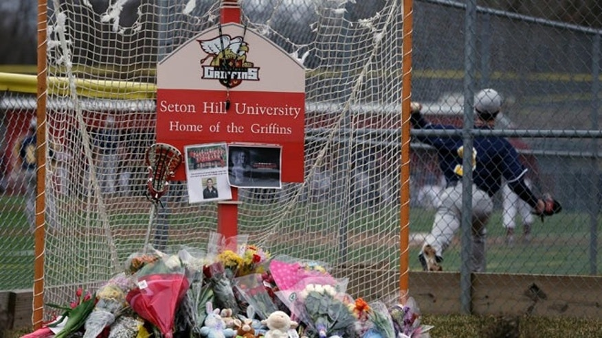 Sunday, March 17, 2013: A lacrosse goal serves as a memorial for Seton Hill University's women's lacrosse coach Kristina Quigley on the school's  Greensburg, Pa. campus.