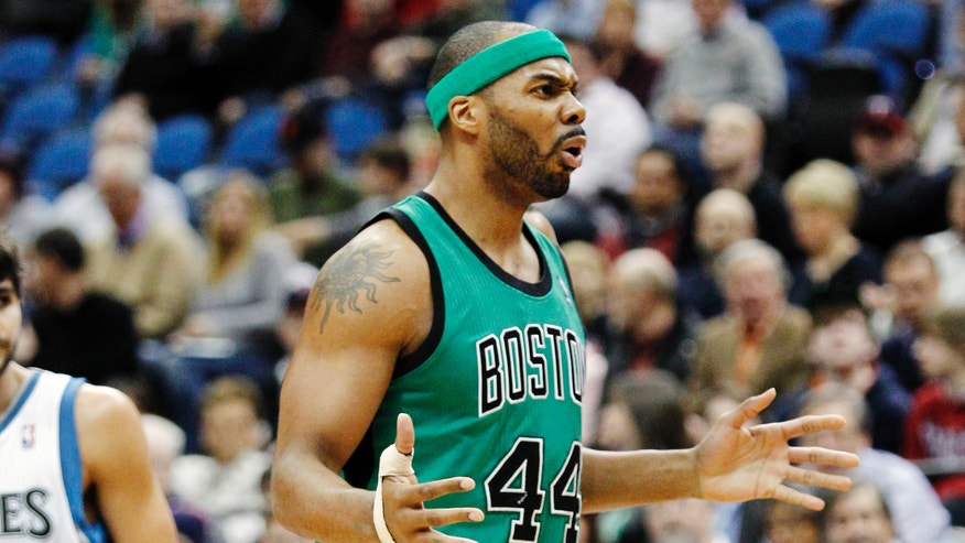 Boston Celtics forward Chris Wilcox (44) reacts after being called for a foul against the Minnesota Timberwolves during the first half of an NBA basketball game Monday, April 1, 2013, in Minneapolis. (AP Photo/Genevieve Ross)