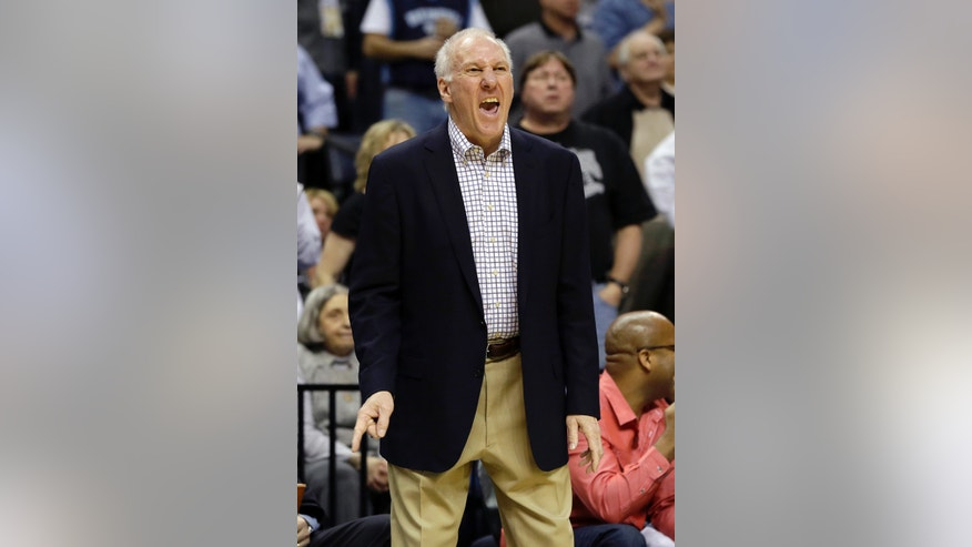 San Antonio Spurs coach Gregg Popovich shouts during the second half of an NBA basketball game against the Memphis Grizzlies in Memphis, Tenn., Monday, April 1, 2013. The Grizzlies defeated the Spurs 92-90. (AP Photo/Danny Johnston)