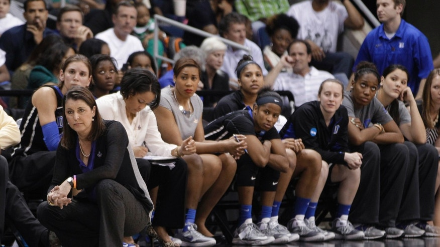 Duke coach Joanne P. McCallie and the bench watch end of the regional final of the NCAA women's college basketball tournament Tuesday, April 2, 2013, in Norfolk, Va. Notre Dame won 87-76. (AP Photo/Steve Helber)