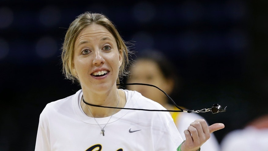 California coach Lindsay Gottlieb spins her whistle during practice for a regional semifinal in the NCAA women's college basketball tournament Friday, March 29, 2013, in Spokane, Wash. Cal plays LSU on Saturday. (AP Photo/Elaine Thompson)