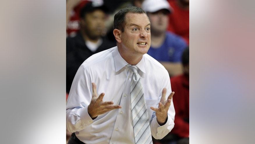 Jan. 7, 2012: Rutgers coach Mike Rice reacts to play during an NCAA college basketball game against Connecticut in Piscataway, N.J. (AP)