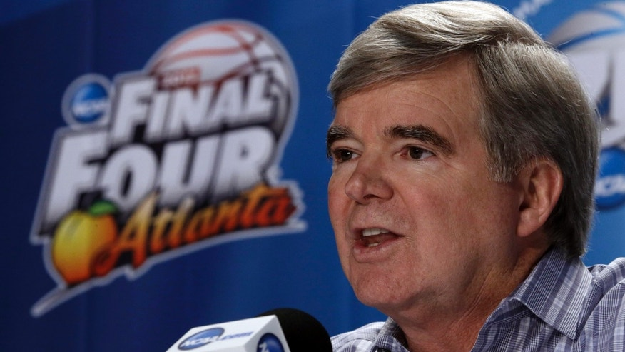 NCAA President Mark Emmert speaks at a news conference Thursday, April 4, 2013, in Atlanta.  (AP Photo/John Bazemore)