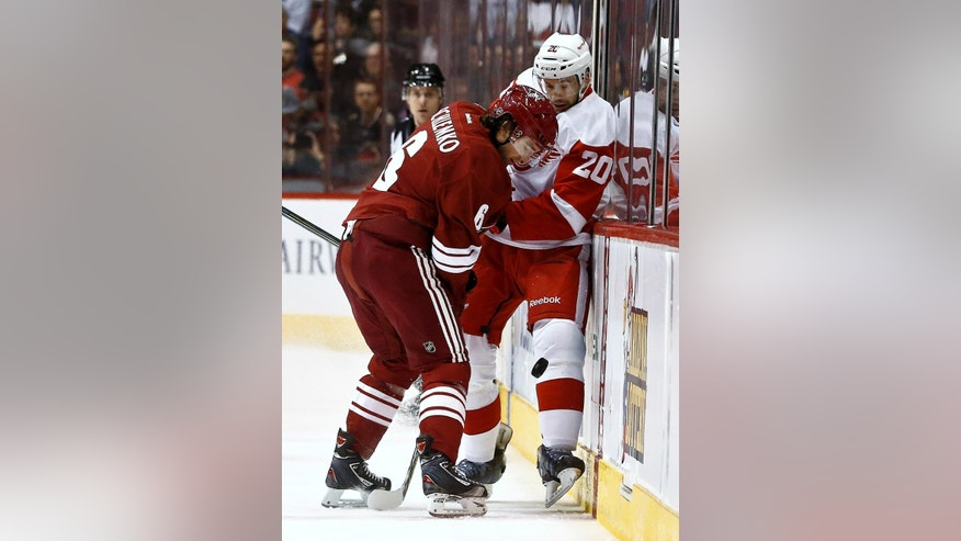 Phoenix Coyotes' David Schlemko (6) checks Detroit Red Wings' Drew Miller (20) into the boards as Miller tries to kick the puck away during the first period of an NHL hockey game Thursday, April 4, 2013, in Glendale, Ariz. (AP Photo/Ross D. Franklin)
