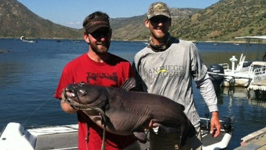 Cameron Smith left, holds his record-breaking blue catfish at El Capitan Reservoir.
