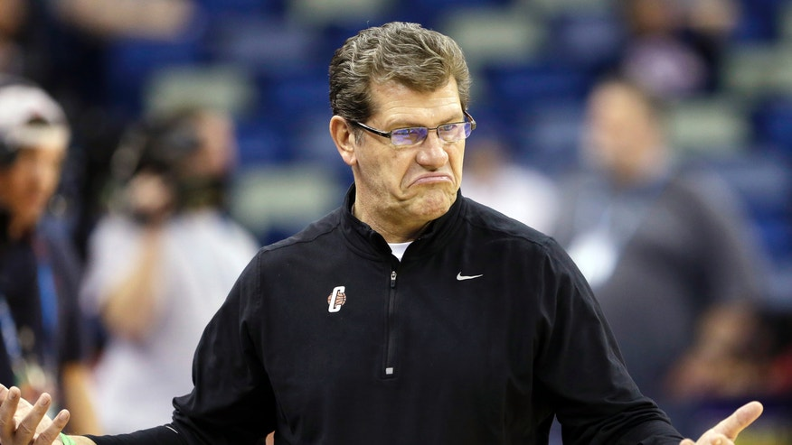 Connecticut head coach Geno Auriemma gestures during practice at the Women's Final Four of the NCAA college basketball tournament, Saturday, April 6, 2013, in New Orleans.  UConn plays Notre Dame in a semifinal game on Sunday. (AP Photo/Gerald Herbert)