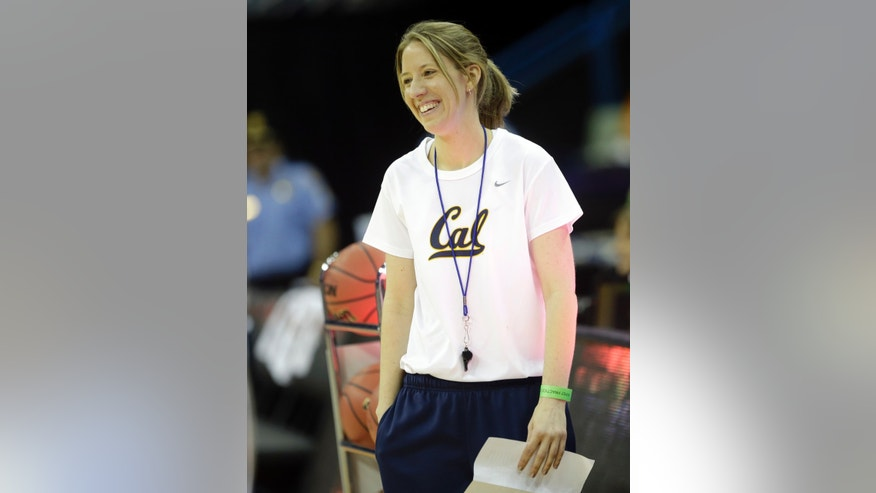 California head coach Lindsay Gottlieb smiles during practice at the Women's Final Four of the NCAA college basketball tournament, Saturday, April 6, 2013, in New Orleans. California plays Louisville in a national semifinal on Sunday.(AP Photo/Gerald Herbert)