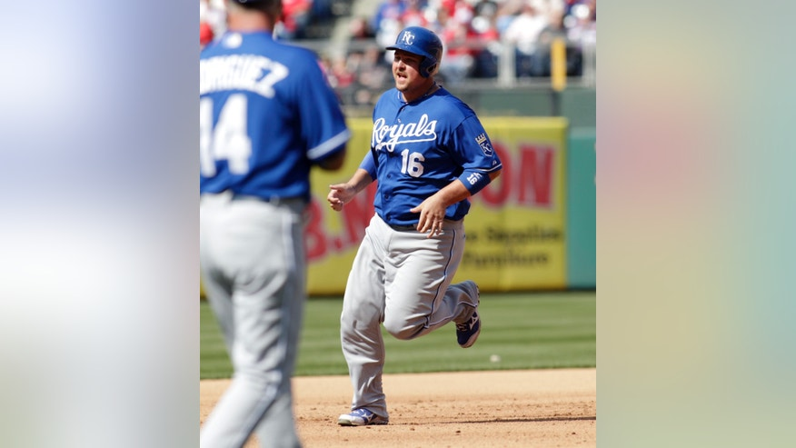 Kansas City Royals' Billy Butler (16) runs the bases after hitting a grand slam against the Philadelphia Phillies in the fifth inning of a baseball game on Sunday, April 7, 2013, in Philadelphia. (AP Photo/H. Rumph Jr)