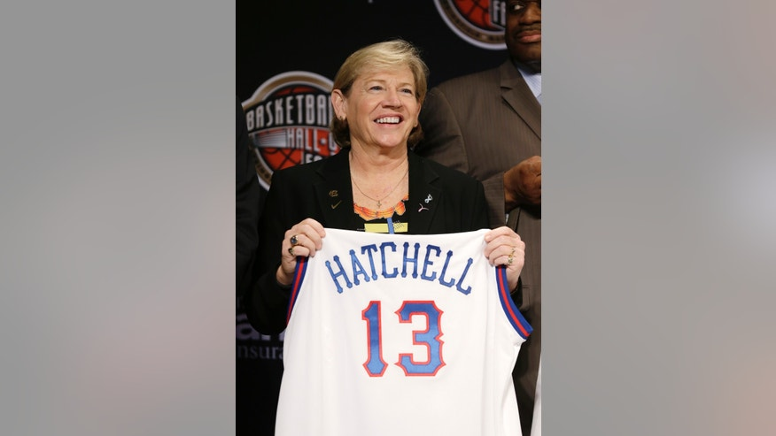 North Carolina coach Sylvia Hatchell looks on during the Naismith Memorial Basketball Hall of Fame class announcement, Monday, April 8, 2013, in Atlanta, Georgia. (AP Photo/Charlie Neibergall)