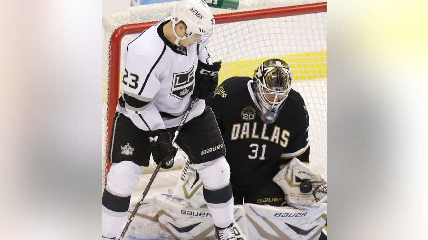 Dallas Stars goalie Richard Bachman (31) makes a save against Los Angeles Kings right wing Dustin Brown (23) during the second period of an NHL hockey game Tuesday, April 9, 2013, in Dallas. (AP Photo/LM Otero)