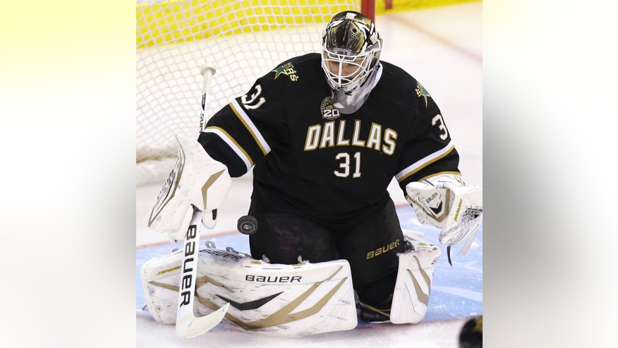 Dallas Stars goalie Richard Bachman blocks a Los Angeles Kings shot during the second period of an NHL hockey game Tuesday, April 9, 2013, in Dallas. (AP Photo/LM Otero)