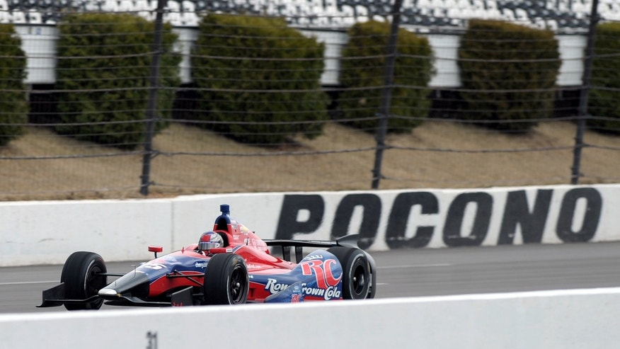 Marco Andretti rides the track during IndyCar tire testing at Pocono Raceway in Long Pond Pa., Wednesday, April 10, 2013. (AP Photo/The Express-Times, Matt Smith)