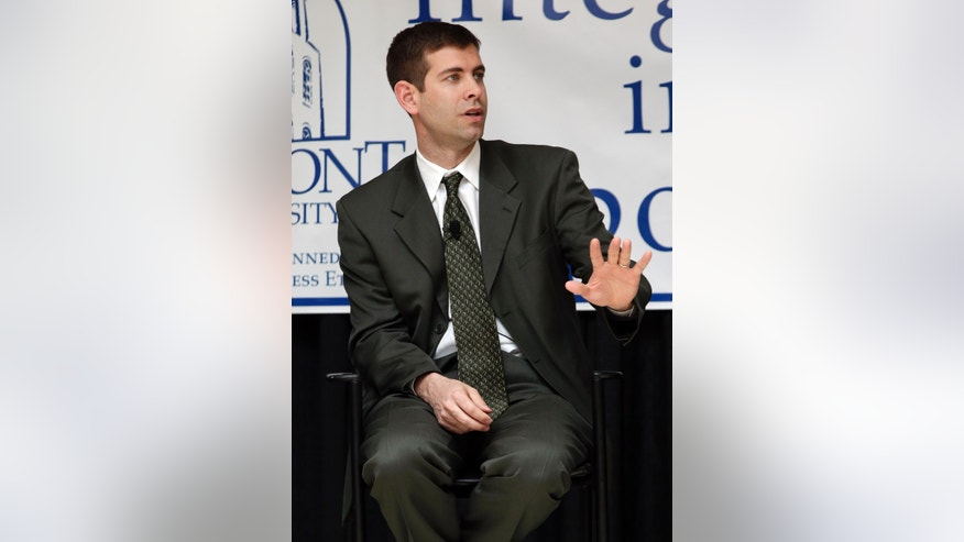 Brad Stevens, of Butler, takes part in a panel discussion on integrity in college basketball on Wednesday, April 10, 2013, in Nashville, Tenn. Stevens, Kevin Stallings of Vanderbilt, and Rick Byrd of Belmont, discussed maintaining integrity and honor in college sports' changing landscape with the ever-increasing pressure to win. (AP Photo/Mark Humphrey)