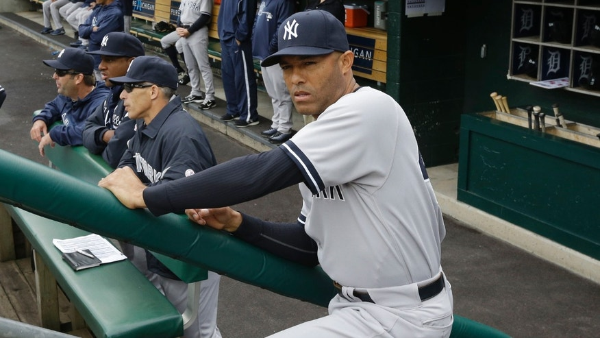 New York Yankees relief pitcher Mariano Rivera is seen in the dugout before a baseball game against the Detroit Tigers in Detroit, Sunday, April 7, 2013. (AP Photo/Carlos Osorio)