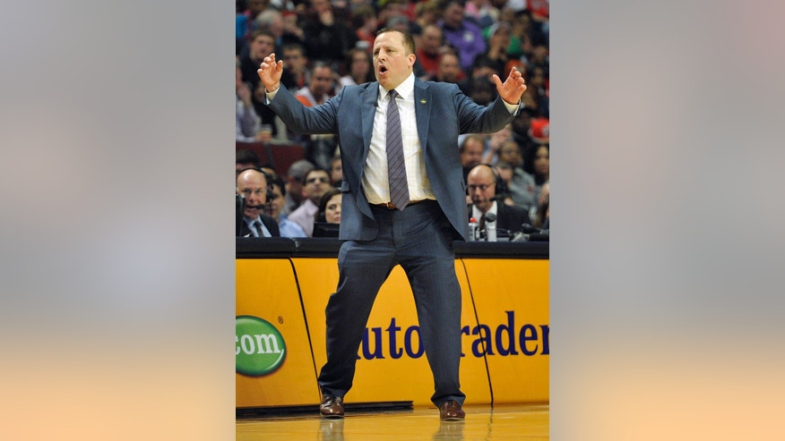 Chicago Bulls head coach Tom Thibodeau reacts to a call during the first half of an NBA basketball game against the New York Knicks, Thursday, April 11, 2013, in Chicago. (AP Photo/Jim Prisching)