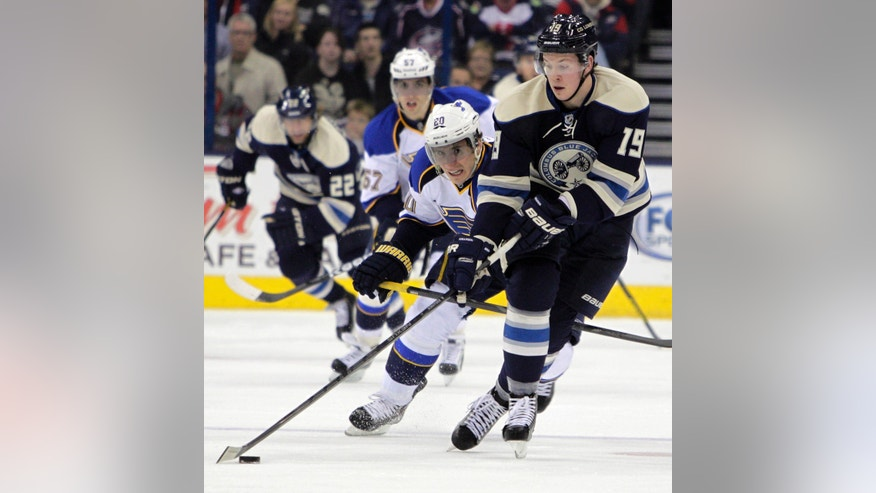Columbus Blue Jackets' Ryan Johansen, right, carries the puck up ice as St. Louis Blues' Alexander Steen chases him during the second period of an NHL hockey game, Friday, April 12, 2013, in Columbus, Ohio. (AP Photo/Jay LaPrete)