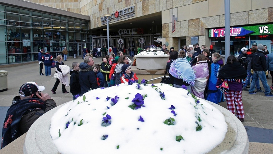 Warmly dressed baseball fans wait for the gates to open as purple pansies in a planter stick out of the snow before the New York Mets and Minnesota Twins baseball game, Friday, April 12, 2013, in Minneapolis, which was hit with an April snowstorm on Thursday. (AP Photo/Jim Mone)