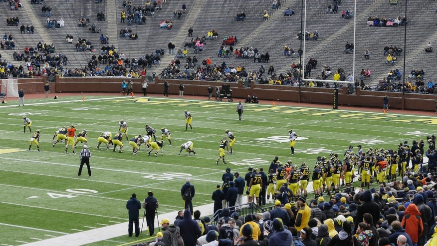 Michigan football fans watch the team during an NCAA college football spring scrimmage, Saturday, April 13, 2013, in Ann Arbor, Mich. (AP Photo/Carlos Osorio)