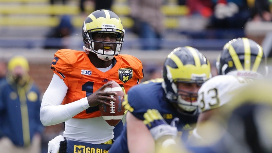 Michigan quarterback Devin Gardner looks downfield during an NCAA college football spring scrimmage, Saturday, April 13, 2013, in Ann Arbor, Mich. (AP Photo/Carlos Osorio)
