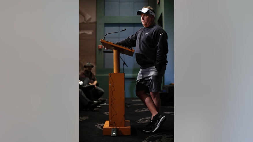 Philadelphia Eagles head coach Chip Kelly speaks during a news conference at the team's NFL football training facility, Tuesday, April 16, 2013, in Philadelphia. (AP Photo/Matt Rourke)