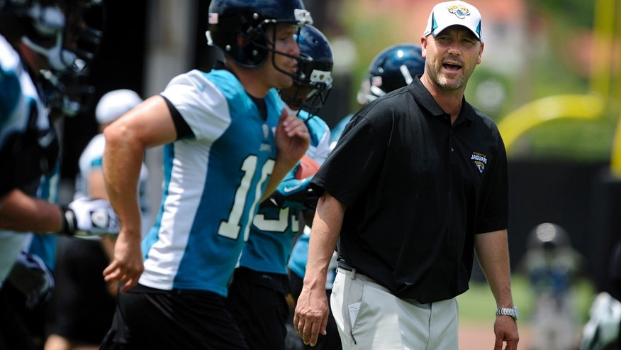 Jacksonville Jaguars first year head coach Gus Bradley watches his team practice during a voluntary veteran NFL football mini-camp,  Tuesday, April 16, 2013, in Jacksonville, Fla. (AP Photo/Stephen Morton)
