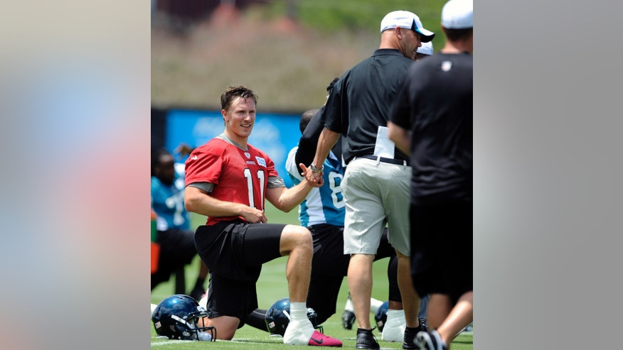 Jacksonville Jaguars quarterback Blaine Gabbert (11) shakes hands with head coach Gus Bradley, right, during a voluntary veteran NFL football mini-camp, Tuesday, April 16, 2013, in Jacksonville, Fla. (AP Photo/Stephen Morton)