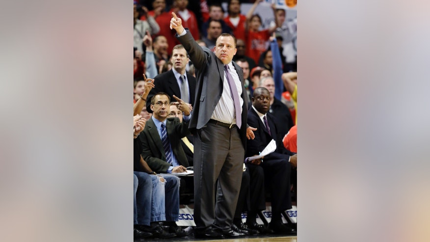 Chicago Bulls head coach Tom Thibodeau gestures during the second half of an NBA basketball game against the Washington Wizards in Chicago, Wednesday, April 17, 2013. The Bulls won 95-92. (AP Photo/Nam Y. Huh)