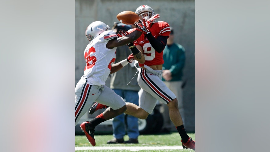 Grey cornerback Armani Reeves (26) breaks up a pass intended for Scarlet receiver Devin Smith (9) during Ohio State's annual spring NCAA college football game, Saturday, April 13, 2013, in Cincinnati. (AP Photo/Al Behrman)