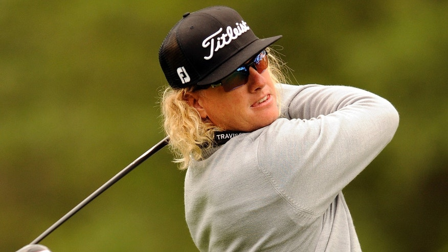 Charley Hoffman tees off on the third hole during the third round of the RBC Heritage golf tournament in Hilton Head Island, S.C., Saturday, April 20, 2013. (AP Photo/Stephen Morton)