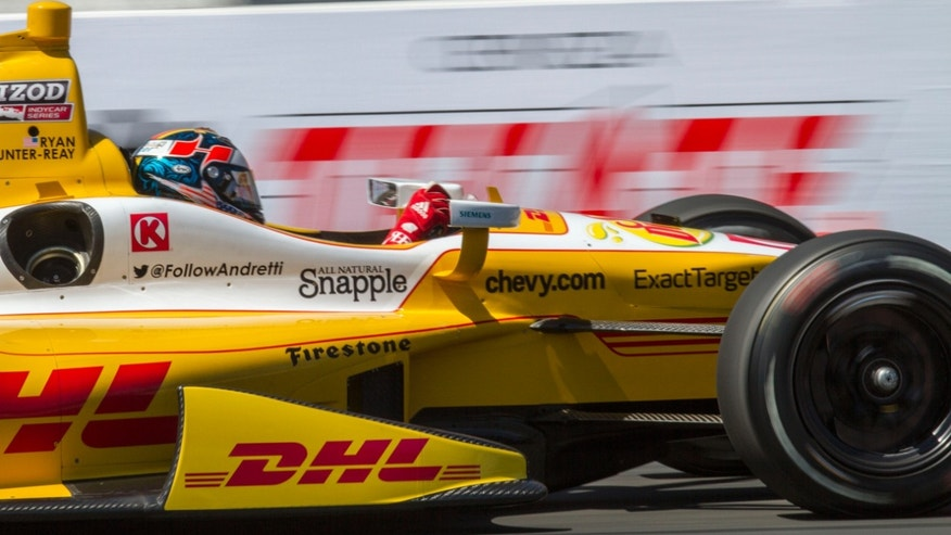 Ryan Hunter-Reay races during the IndyCar qualifying at the Toyota Grand Prix of Long Beach auto race on Saturday, April 20, 2013, in Long Beach, Calif. Hunter-Reay won the second pole for the IndyCar series. (AP Photo/Ringo H.W. Chiu)