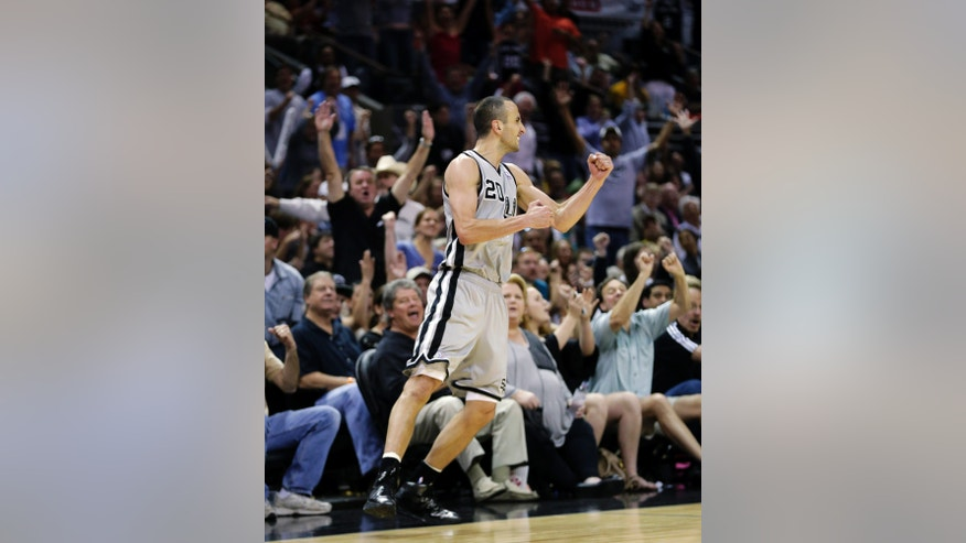 San Antonio Spurs' Manu Ginobili (20), of Argentina, reacts after hitting a 3-pointer against the Los Angeles Lakers during the second half of Game 1 of their first-round NBA basketball playoff series, Sunday, April 21, 2013, in San Antonio. San Antonio won 91-79. (AP Photo/Eric Gay)