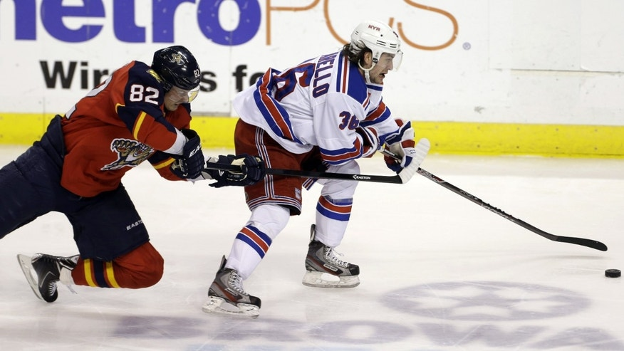 Florida Panthers' Peter Mueller (88) and New York Rangers' Mats Zuccarello (36) battle for the puck during the third period of an NHL hockey game in Sunrise, Fla., Tuesday, April 23, 2013. The Panthers won 3-2. (AP Photo/J Pat Carter)