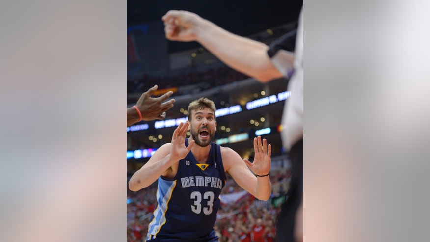 Memphis Grizzlies center Marc Gasol, of Spain, yells to referee Mike Callahan during the second half of Game 2 of a first-round NBA basketball playoff series, Monday, April 22, 2013, in Los Angeles.  (AP Photo/Mark J. Terrill)