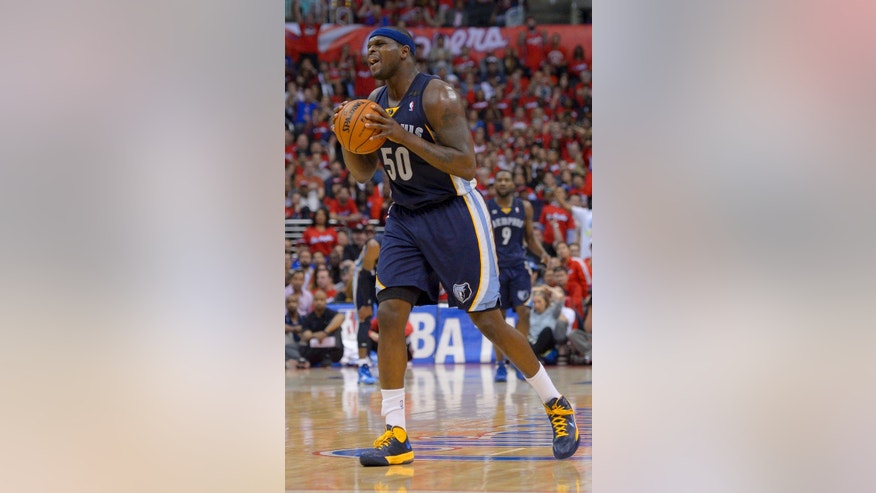 Memphis Grizzlies forward Zach Randolph reacts after getting his fifth foul against the Los Angeles Clippers during the second half of Game 2 of a first-round NBA basketball playoff series, Monday, April 22, 2013, in Los Angeles.  (AP Photo/Mark J. Terrill)