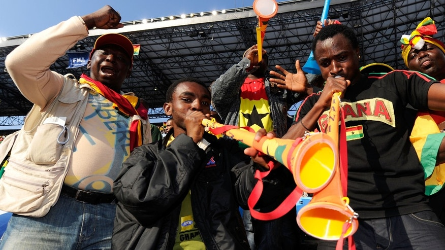 Ghana fans blow vuvuzelas prior to the 2010 FIFA World Cup South Africa Group D match between Serbia and Ghana.