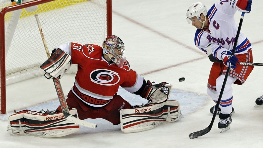 Carolina Hurricanes' Dan Ellis (31) blocks as New York Rangers' Ryan Callahan tries to score during the third period of an NHL hockey game in Raleigh, N.C., Thursday, April 25, 2013. New York won 4-3 in overtime. (AP Photo/Gerry Broome)