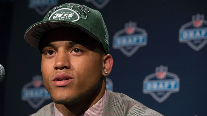Dee Milliner from Alabama speaks during a news conference after being selected ninth overall by the New York Jets in the first round of the NFL football draft, Thursday, April 25, 2013, at Radio City Music Hall in New York. (AP Photo/Craig Ruttle)