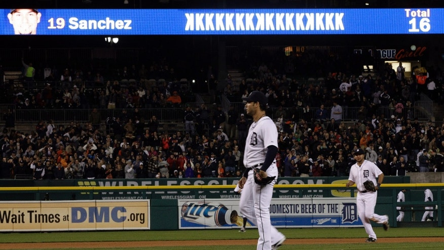 Detroit Tigers pitcher Anibal Sanchez walks off the field after striking out Atlanta Braves' Dan Uggla to end the eighth inning of a baseball game in Detroit, Friday April 26, 2013. Sanchez had 17 strikeouts in eight innings. (AP Photo/Paul Sancya)